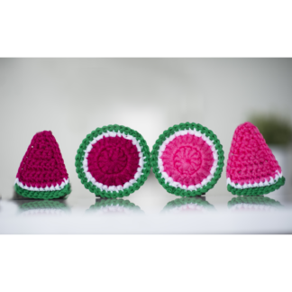 watermelon round triangle slice fuchsia candy la capitaine crochète scouring pad reusable