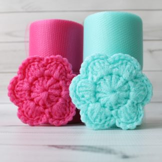 la capitaine crochete diy crochet kit scrubbie scrubber scrubby scouring pad flower aqua candy