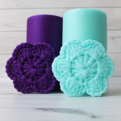 la capitaine crochète ensemble créatifs crochet tampons à récurer fleur aqua violet