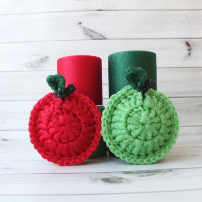 la capitaine crochète ensemble créatifs crochet tampons à récurer pomme rouge verte