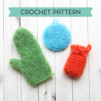 la capitaine crochète crochet pattern exfoliating trio sponge glove soap pouch