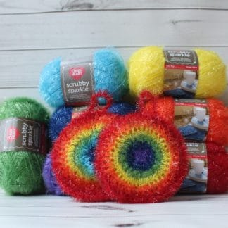 ensemble éponge exfoliante arc-en-ciel la capitaine crochete red heart scrubby sparkle