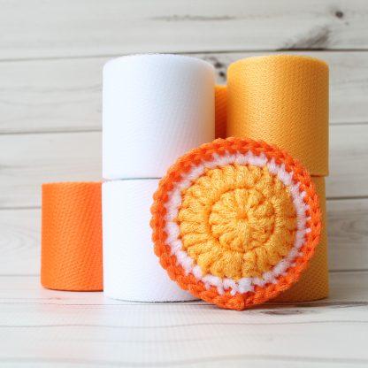 la capitaine crochète ensemble créatif tampons à récurer à crocheter tranche agrumes ronde orange